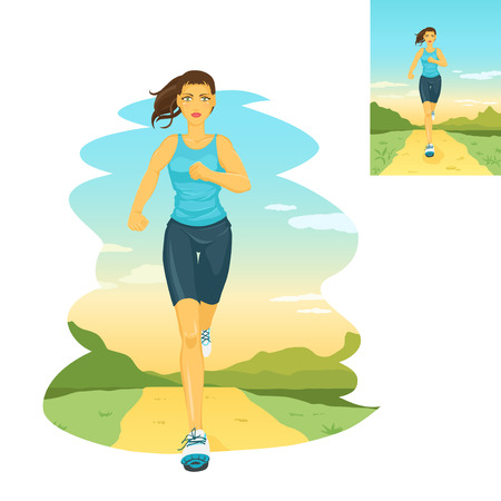 Beautiful sports girl runs on a cross-country terrain. Morning jogging. Nature is represented on a background. Crop image how you want. Vector color image. Stock Illustratie