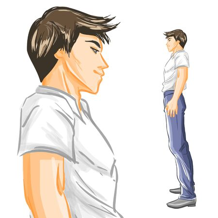 handsome young man: Profile of handsome young man. Guy in trousers and  shirt at full length. Tracing of aquarelle imitation. Isolated vector watercolor on white background Illustration