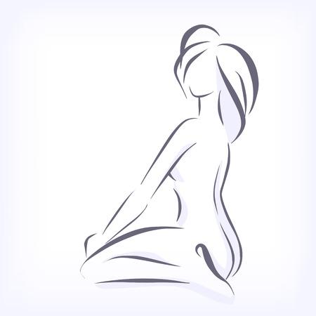 защитник: Элегантный силуэт, сидя стройная девушка Иллюстрация
