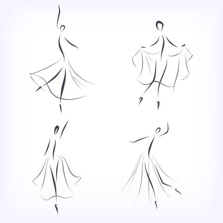 symbolic: Set of symbolic ballet dancers