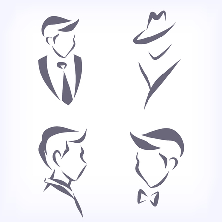 from side: Set of symbolic men heads. Faces in profile and en face. Signs for hairdresser, business firm, fashion boutique. Vector isolated. Illustration