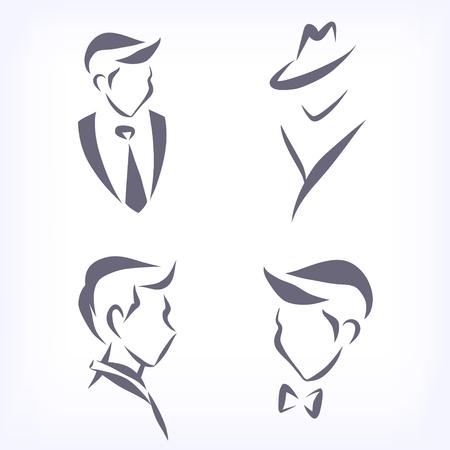 Ensemble de têtes d'hommes symboliques. Visages de profil et de face. Signes de coiffure, cabinet d'affaires, boutique de mode. Vecteur isolé.