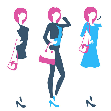 細身の若い女性のシルエットが立っている象徴的なエンブレム。ファッションの女の子は、ジーンズやドレスを着ています。ブティック、衣料品店