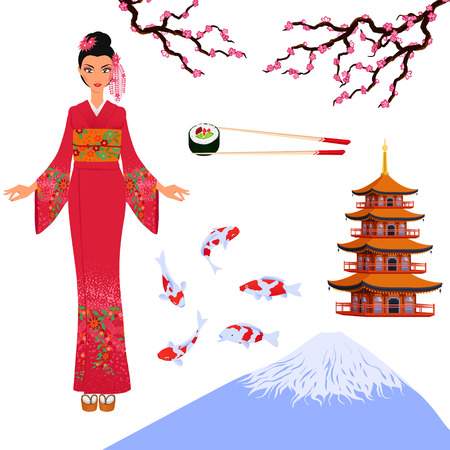 着物、パゴダ、桜の少女 - 日本の伝統文化の要素から設定します。観光小冊子や寿司バー。漫画色分離ベクトル。