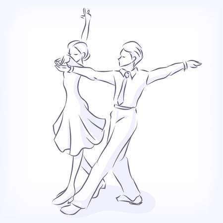 cha: Latin fast ballroom dances. Man and woman passionately dance. Young couple takes part at competitions. Hand vector drawn by lines, isolated on white background