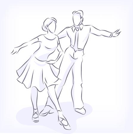 bailarines de salsa: Bailes de salón rápidas Latina. El hombre y la mujer bailan apasionadamente. Pareja joven participa en las competiciones. Vectores dibujados a mano por líneas, aislado en fondo blanco Vectores