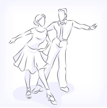 Latin fast ballroom dances. Man and woman passionately dance. Young couple takes part at competitions. Hand vector drawn by lines, isolated on white background Vector