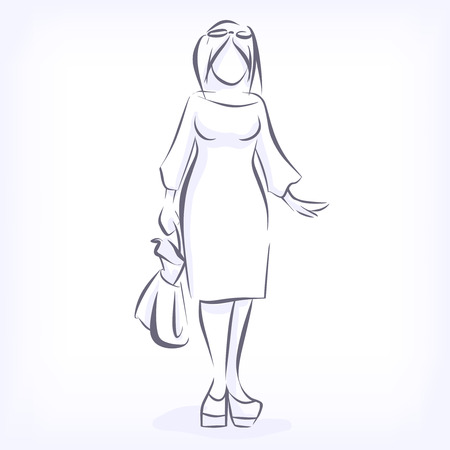 Over sized women love to wear fashionable plus size clothing. Silhouette of fat elegant fashion girl drawing by hand by lines. icon for clothing shop. Vector black and white isolated image Illustration