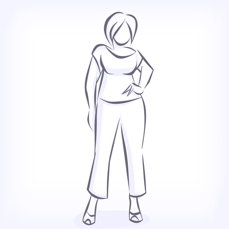 plus sized: Over sized women love to wear fashionable plus size clothing. Silhouette of fat elegant fashion girl drawing by hand by lines. icon for clothing shop. Vector black and white isolated image Illustration
