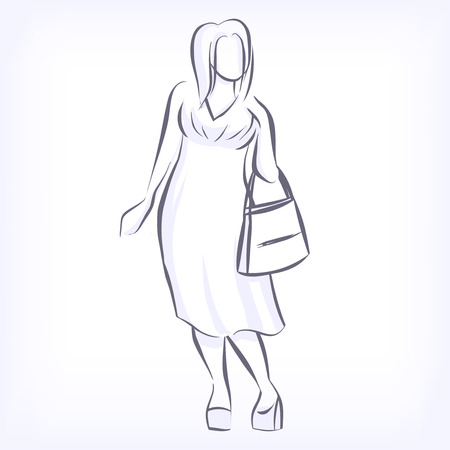 clothing shop: Over sized women love to wear fashionable plus size clothing. Silhouette of fat elegant fashion girl drawing by hand by lines. icon for clothing shop. Vector black and white isolated image Illustration