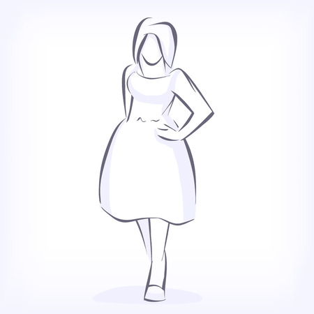big size: Over sized women love to wear fashionable plus size clothing. Silhouette of fat elegant fashion girl drawing by hand by lines. icon for clothing shop. Vector black and white isolated image Illustration