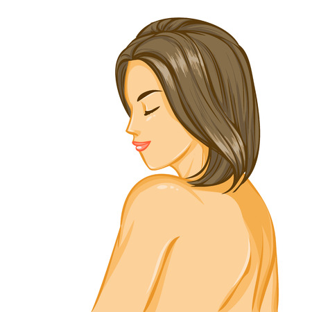 sexy nude women: Closeup with portrait of elegant beautiful nude smiling  girl with closing eyes and luxury hairstyle. Back view, profile of woman. Vector color cartoon on white background.