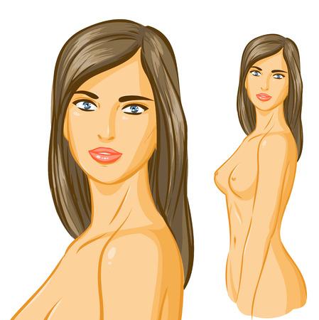 Zarif çıplak kadın siluet ayakta. Bir meme, mastopatileri, meme kanseri düzeltme temalar için kullanın. Vektör karikatür elle çizim