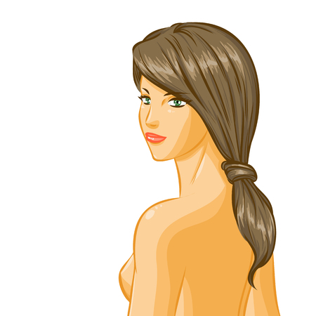 naked woman  white background: Closeup with portrait of elegant beautiful nude smiling  girl with closing eyes and luxury hairstyle. Back view, profile of woman. Vector color cartoon on white background.