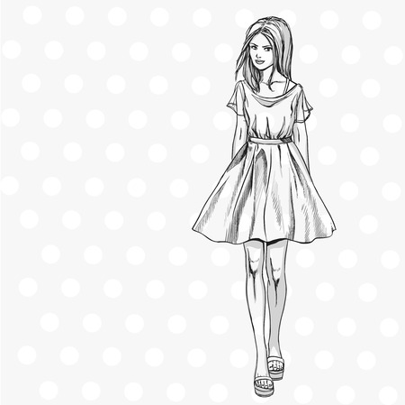 Young fashionable slender girl in summer dress. Comics sketch style. Black and white hand drawing.