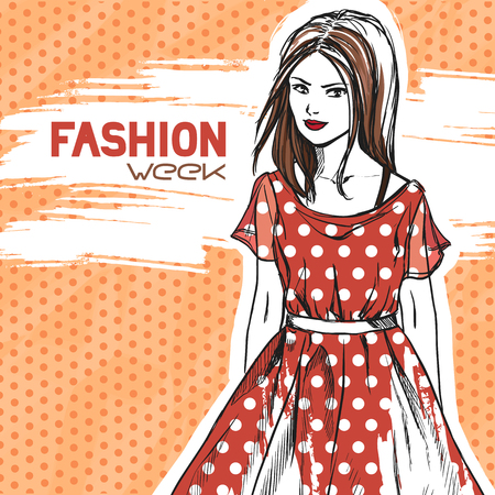 dresses: Young slender beautiful brunette girl wearing red dress in dots. Comics style, fashion. Vector color hand drawing.