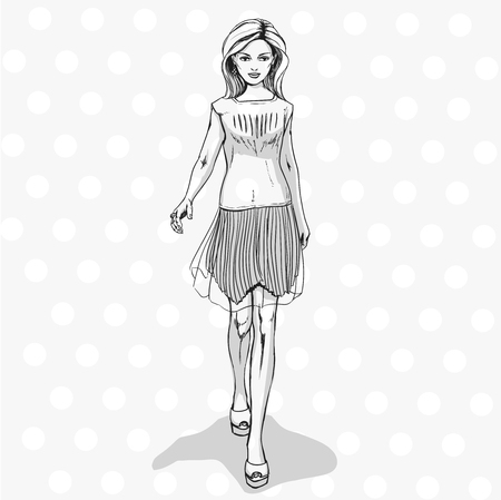Young fashionable slender girl in summer clothes. Sexy woman in skirt and shirt. Comics sketch style. Black and white hand drawing.