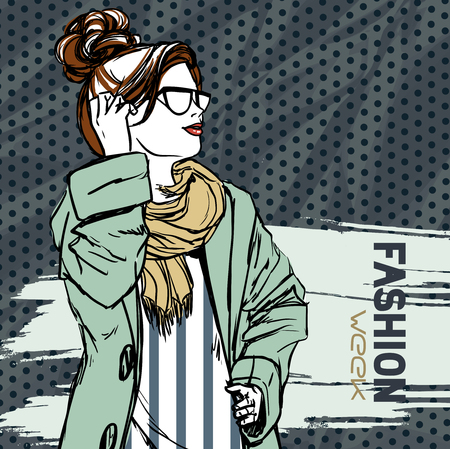 autumn fashion: Young slender beautiful brunette girl wearing autumn clothes. Woman in sunglasses. Comics style, fashion. Vector color hand drawing.