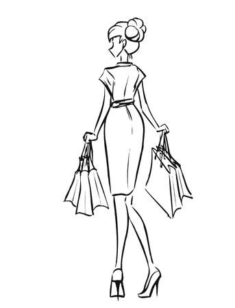 shopper: Young slender woman in short dress after shopping. Girl holds some shopping bags.