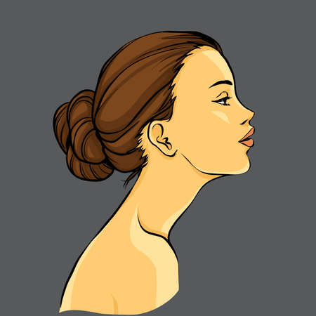 young girl nude: Profile of young beautiful woman with hair bun. Color cartoon vector. Hand drawing.
