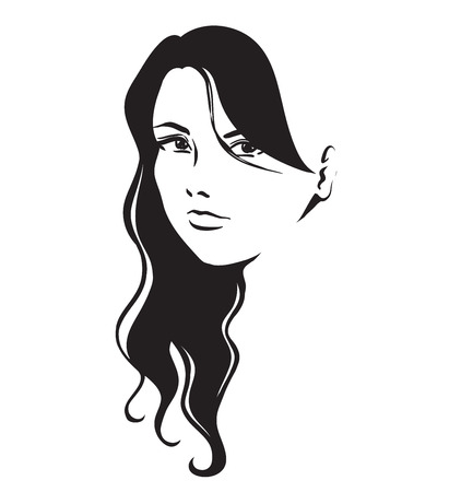 thick hair: Portrait of young beautiful girl with long thick hair. Vector hand black and white drawing.