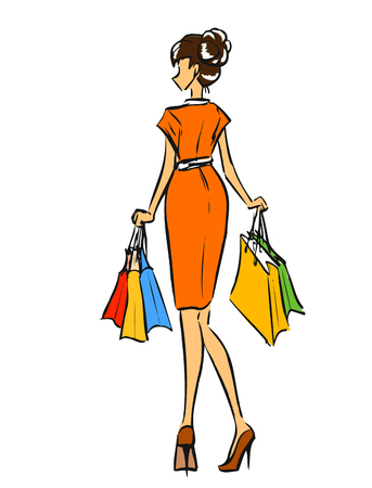 short dress: Young slender woman in short dress after shopping. Girl holds some shopping bags.Color vector cartoon, hand drawing. Isolated background.