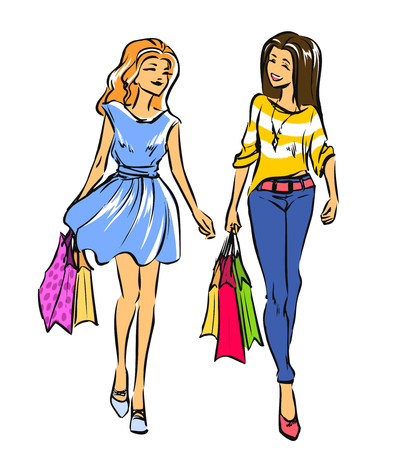 contented: Two young slender women after going shopping. Smiling girls look contented and hold some shopping bags. Color vector cartoon, hand drawing. Isolated background.