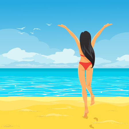 slim women: Vector landscape of tropical paradise. The boundless ocean, the blue sky with white foam and seagulls. Young slender cheerful girl in red swimsuit runs to water, she rejoices at summer sun at vacation.