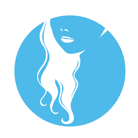 thick hair: Portrait of young beautiful girl with long thick hair. Symbol for a hairdressing or fashionable salon. Vector hand drawing.