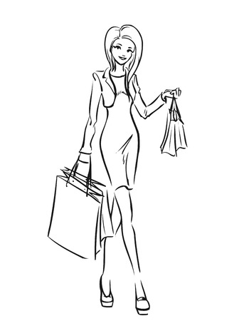 short dress: Young slender woman in short dress after shopping. Girl holds some shopping bags. Black and white vector cartoon  drawing by lines. Isolated background.