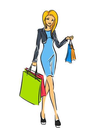 Mujer delgada joven en vestido corto después de las compras. La muchacha sostiene algunos bags.Color compras de dibujos animados vector, dibujo a mano. fondo aislado.
