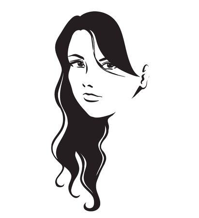 thick hair: Portrait of young beautiful girl with long thick hair. A sign for a hairdressing or fashionable salon. Vector hand black and white drawing.