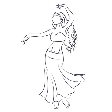 Art line of belly dancer. Young slender girl in east suit shows movement of arabic dance. Vector black and white drawing by lines. Isolated image. Ilustração