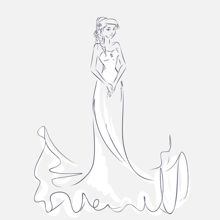 wedding bride: Art sketch of elegant young bride with the brides bouquet. Standing girl at full length. Sketchy background with space for text. Hand vector card drawing by lines. Wedding or fashion themes. Illustration