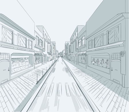 street life: Sketch of urban panorama. Part of city district, shopping street with a lot of shops and storefronts. Minimum color. no gradient. Vector hand drawing.