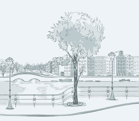 road design: Sketch of urban panorama. Part of city district with river and front. Minimum color, no gradient. Vector hand drawing.