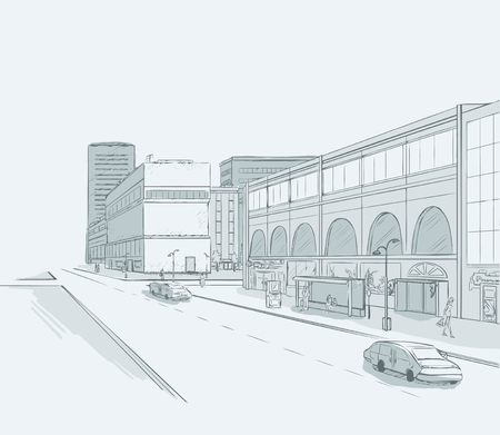 urban district: Sketch of urban panorama. Part of city district with minimum color. No gradient. Vector hand drawing.
