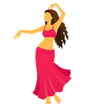 Cartoon belly dancer. Young slender girl in red east suit shows movement of arabic dance. Vector color drawing.