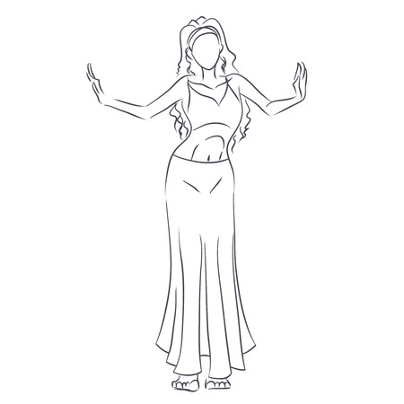 Art line of belly dancer. Young slender girl in east suit shows movement of arabic dance. Vector black and white drawing by lines. Isolated image. Stock Illustratie
