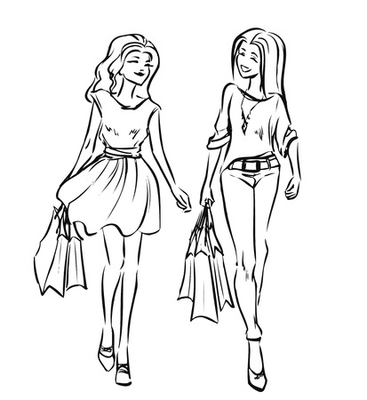 Two young slender women after going shopping. Smiling girls look contented and hold some shopping bags. Black and white vector cartoon drawing by lines. Isolated background. Stock Illustratie