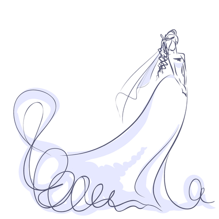 Art sketch of elegant young bride with the bride's bouquet. Standing girl at full length. Sketchy background with space for text. Hand vector card drawing by lines. Wedding or fashion themes.
