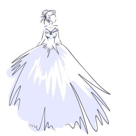 fiance: Art sketch of elegant young bride with the brides bouquet. Standing girl at full length. Sketchy background with space for text. Hand vector card drawing by lines. Wedding or fashion themes. Illustration