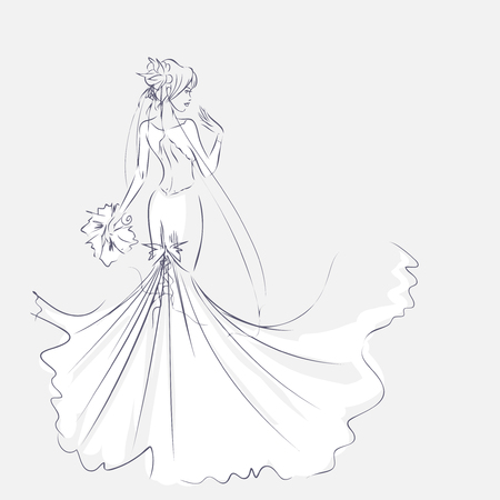Art sketch of elegant young bride with the brides bouquet. Standing girl at full length. Sketchy background with space for text. Hand vector card drawing by lines. Wedding or fashion themes. Ilustracja