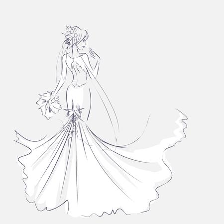 croquis de l'art de l'élégant jeune mariée avec le bouquet de la mariée. fille debout à pleine longueur. fond Sketchy avec espace pour le texte. Main dessin de carte de vecteur par lignes. Mariage ou mode thèmes.