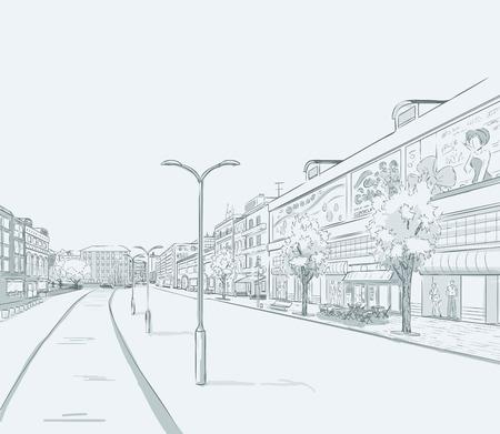 도시의 파노라마 스케치입니다. 도시 지구의 일부로, 많은 상점과 점포가있는 쇼핑 거리. 최소 색상. 아니 그라디언트. 벡터 손을 그리기입니다. 일러스트