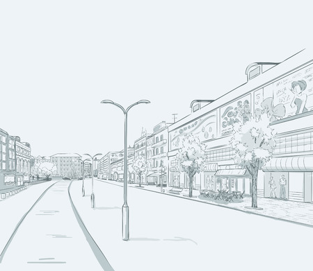 Sketch of urban panorama. Part of city district, shopping street with a lot of shops and storefronts. Minimum color. no gradient. Vector hand drawing.