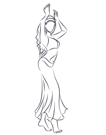 Art line of belly dancer. Young slender girl in east suit shows movement of arabic dance. Vector black and white drawing by lines. Isolated image. Illustration