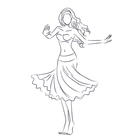 Art line of belly dancer. Young slender girl in east suit shows movement of arabic dance. Vector black and white drawing by lines. Isolated image. 向量圖像