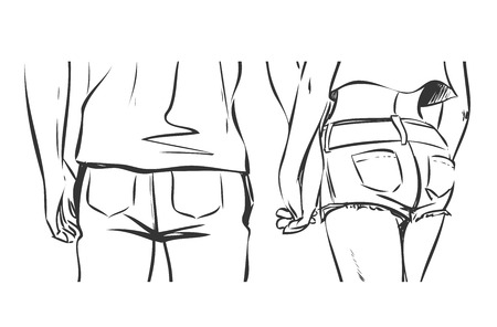 sketch: Young modern couple are on a date. Man and woman walk and hold hands. Back view. Vector color cartoon, drawing by black lines. Comics style