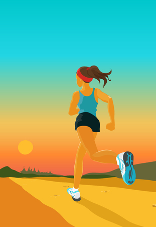 running: The young sporty woman jogs in the evening. Girl wears shorts,sleeveless sports shirt and running shoes. Vector color cartoon. Back view Illustration